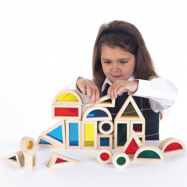 Rainbow Acrylic Blocks Jouets de construction en bois pour enfants apprenant 24PC SET éclairer train prix usine ordre de gros 1 set ou plus