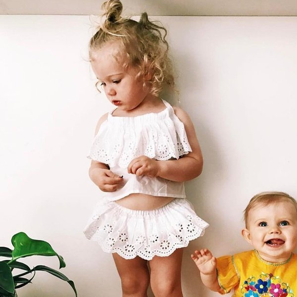 220a401d Ins Hot Sell Baby Kids Clothing Adorable Girls Clothes Princess White tops  Dress + PP Pans 2pcs Sets Babies Tops Pants Outfits Lovely 361