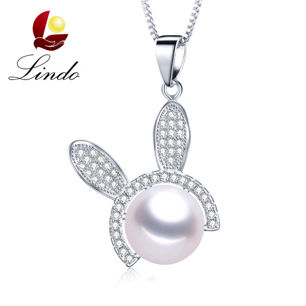 Fashion Cute Rabbit Pendant High Quality 925 Silver Necklace 100% Natural Freshwater Pearl Jewelry with Gift Box