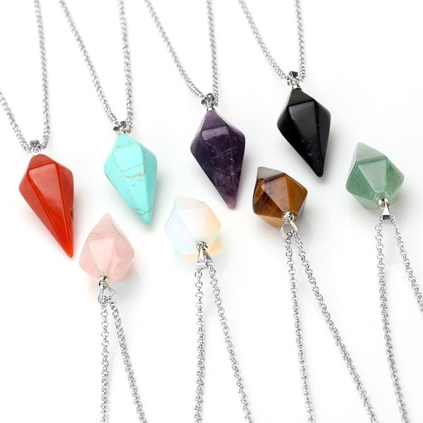 Pendulum Crystal Pendant Necklace Natural Stone Charms Gem Hexagon Pyramid Reiki Healing Chakra Amulet Jewelry For Men Women Christmas Gift