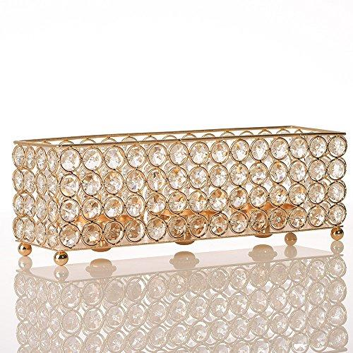 Rectangular Votive Crystal Candle Tealight Holder Cube Stand Metal Candlesticks Wedding Party Birthday Holiday Table Centerpieces Decoration