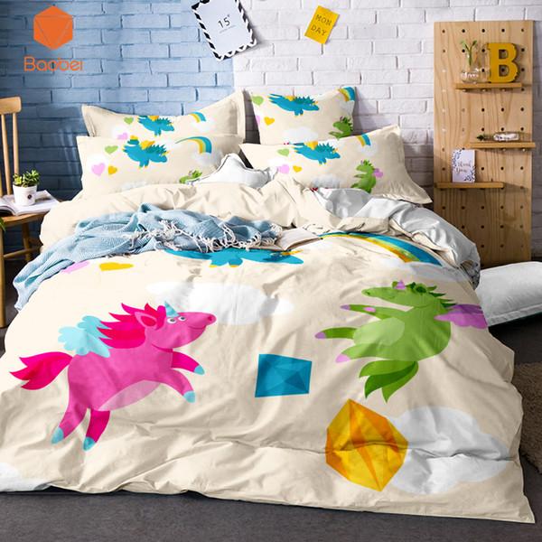 3Pcs 3D Beding Set Regenbogen Einhorn Bettbezug Kissenbezüge Voll Königin Tier für Kinder Erwachsene Tagesdecken Bettbezug Sj128