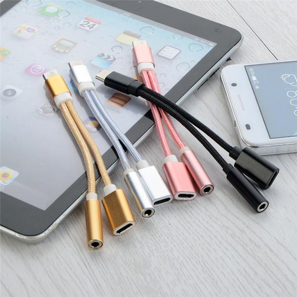 2 in 1 Ladegerät Audio Typ C Kopfhörer Kopfhöreranschluss Adapter Anschlusskabel 3,5 mm Aux Kopfhörerbuchse Audio Adapter für Samsung Galaxy