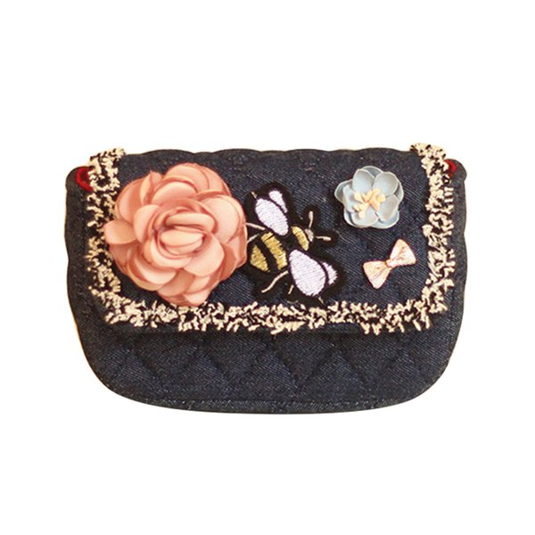 Vintage Butterfly Embroidered Flower Girl Chain Mini Shoulder Crossbody Bag