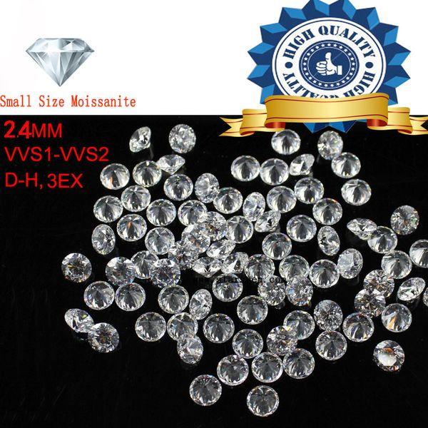2 unids / lote tamaño pequeño 2.4 mm color blanco Moissanite redondo brillante suelta Moissanites piedra para la fabricación de joyas