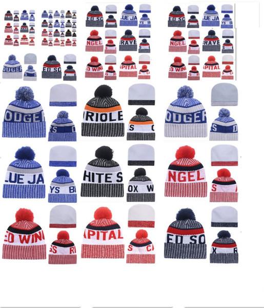 Toptan kış Bere Örme Şapkalar Spor Takımları beyzbol futbol basketbol kasketleri caps Kadın Erkek kış sıcak şapka DHL ücretsiz kargo