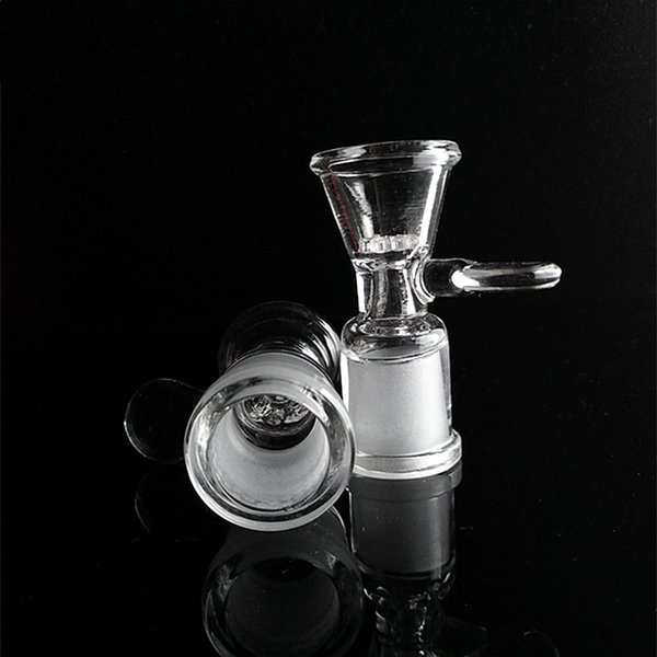 Wholesale Glass Bowls 14mm 18mm Female Pieces Bongs Bowls Funnel Bowl with handle for free shipping