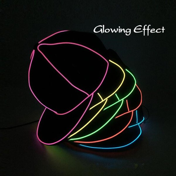 EL Wire Cap 10 Colors Neon LED Light Hats Glow Costume Party Luminous Cap Fluorescent Dancing Party Hats OOA5645