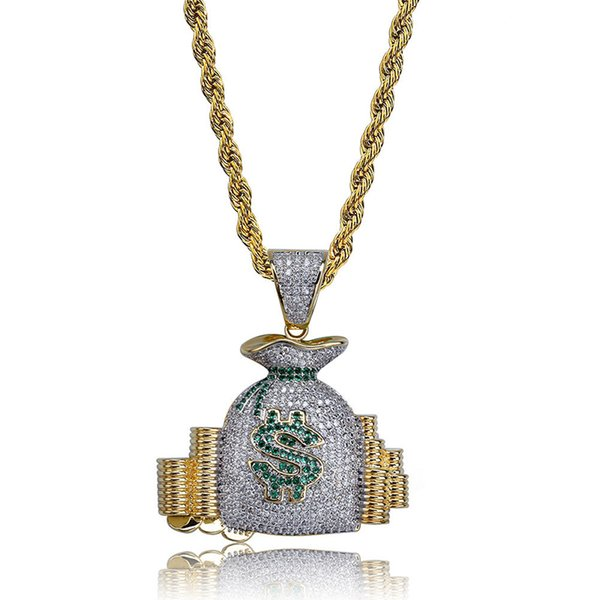Men Hip Hop Dollar Symbol Money Bag Pendant Necklace Inlaid Cubic Zirconia Coin Charm Necklaces Party Jewelry