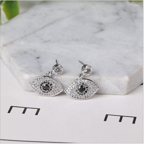 2017 Yeni Anti-Alerjik Türkiye Göz Düğün Saplama Küpe 925 Ayar Gümüş CZ Simüle Diamonds Nişan Dangle Takı Kristal kulak Yüzük