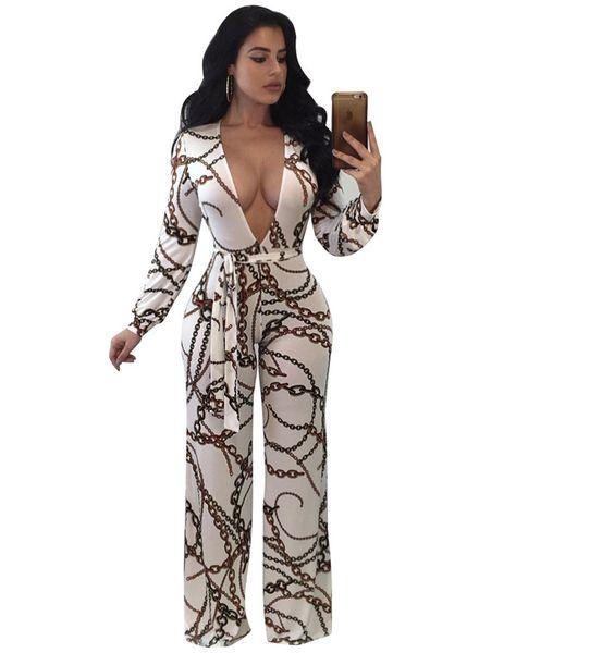 871eb1ad9920 Plus Size 3XL Fashion Digital Print Long Jumpsuit Women Autumn Long Sleeve  Sexy Deep V Slim Bodycon Overalls One Piece Pants