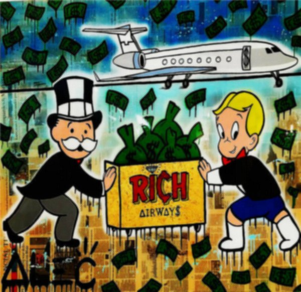 Rich New Design Alec Monopoly Airplane,Portrait MODERN ABSTRACT LARGE ART OIL PAINTING WALL DECOR CANVAS FRAMED/STRETCH FRAMED