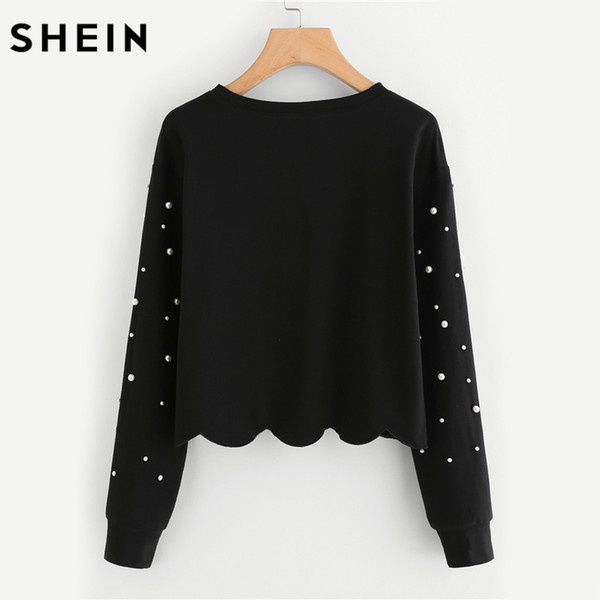 Großhandel SHEIN Perle Sicke Jakobsmuschel Saum Sweatshirt Pullover Frauen Schwarz Langarm Rundhals Damen Sweatshirts Pullover Von Yuanchun, $25.29