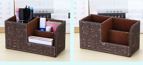 Desktop Stationery Storage Box Lifestyle Household Jewelry PU Storage Container Leather Vintage Pen Contain