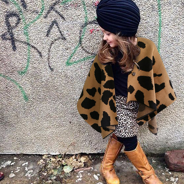 Vieeoease Girls Shawl Christmas Leopard Kids Clothing 2018 Autumn Winter Fashion Knitting Coat for Girls EE-1080