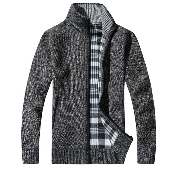 Mens Sweaters Wool Cardigan Sweater Full Sleeves Slim Solid Men Thick Stand Collar Pullover Men Sweaters Plus Size Coat High Quality New
