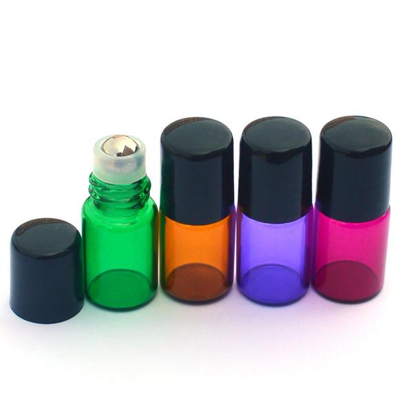 100pcs Empty 2ml roll on glass bottles Colorful Metal Roller Ball Bottle Perfume Sample Bottle Essential Oil 2ml Roller Bottle