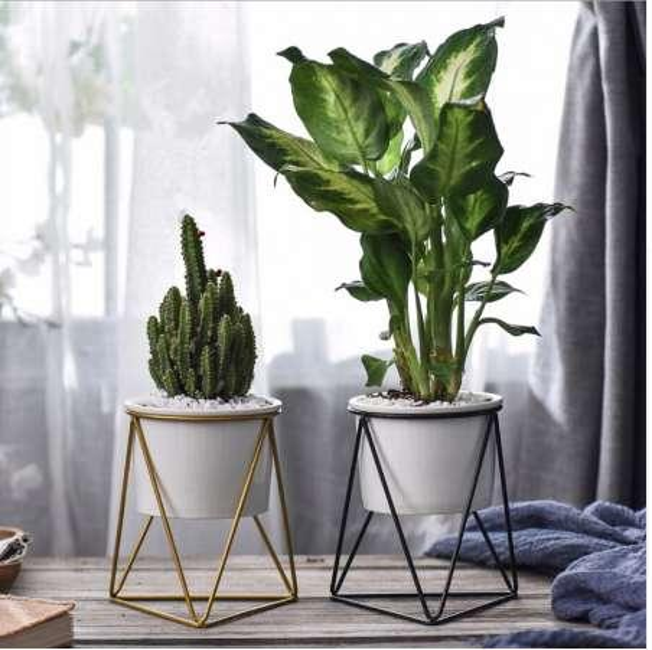 Flower Pots Nordic Geometric Wrought Iron Simple Succulent Frame Herb Cactus Flower Pot Ceramic Pot Green Planter for home decor