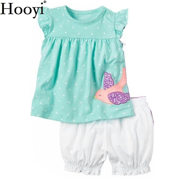 Fashion Baby Girls Clothes Suit Bird Cute Newborn Clothing Sets Toddler T-Shirt Hot Shorts Summer Outfit 6 9 12 18 24 Month Tops Y18102207