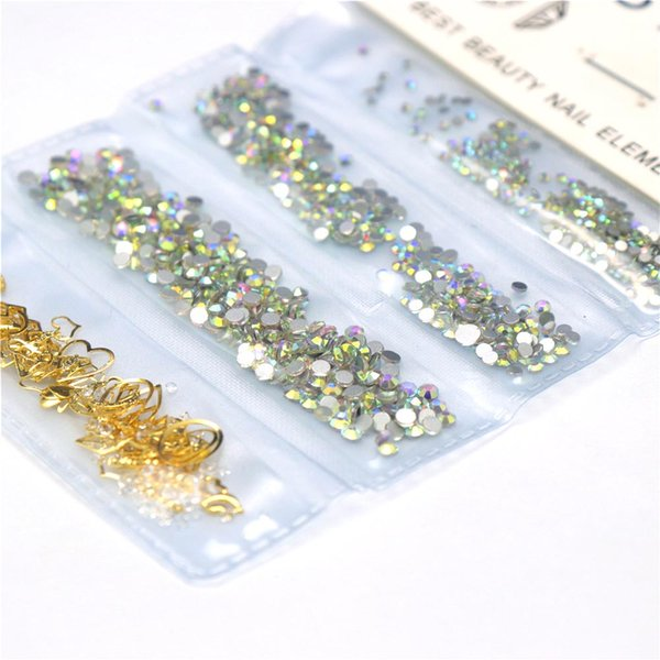 12g 1 Pack Mixed 3D Mix Size SS4-SS8 DIY Hollow Metal Frame Nail Art Decorations Crystal Jewelry Charm Gems Nail Accessory