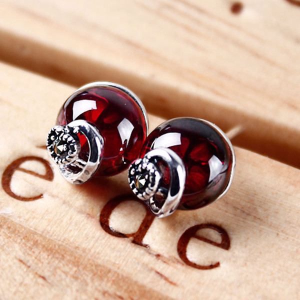 Exquisite Gems 925 Silver Jewelry Red Blue Garnet Retro Heart Silver Earrings Vivid Color Gems No Allergic Silver Earrings
