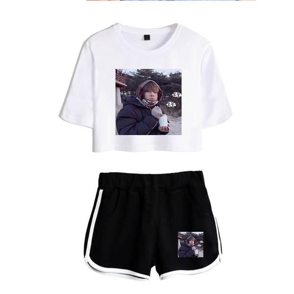 BTS Bangtan Boys V Women's Sets New Summer Sexy O-Neck Exposed Navel Active Tracksuit Harajuku Kpop Hip Hop Oversized Clothes