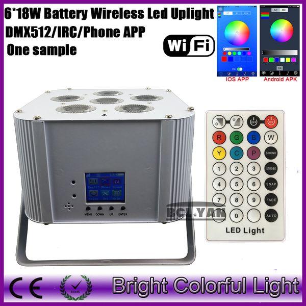 2017 newest wifi Phone App RGBWA UV Led Battery powered & wireless dmx led par uplighting/smart led par light with IR controller