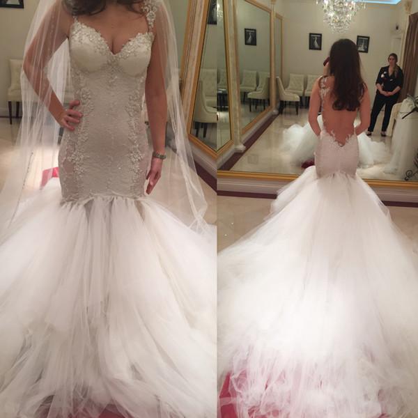 Sheer Backless Trumpet Style Wedding Dress Beaded French Lace Metallic Lace Appliques Edged Asymmetric Nets Hemline Mermaid Bridal Dress