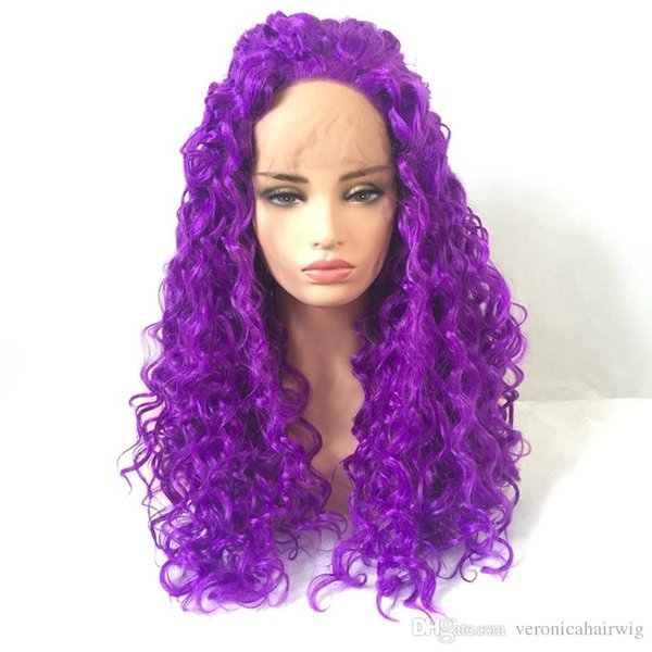 New Sexy Style Purple Pink Afro Kinky Curly Cosplay Wig Heat Resistant Natural Soft Synthetic Wigs Gluelese Lace Front Wigs for Black Women