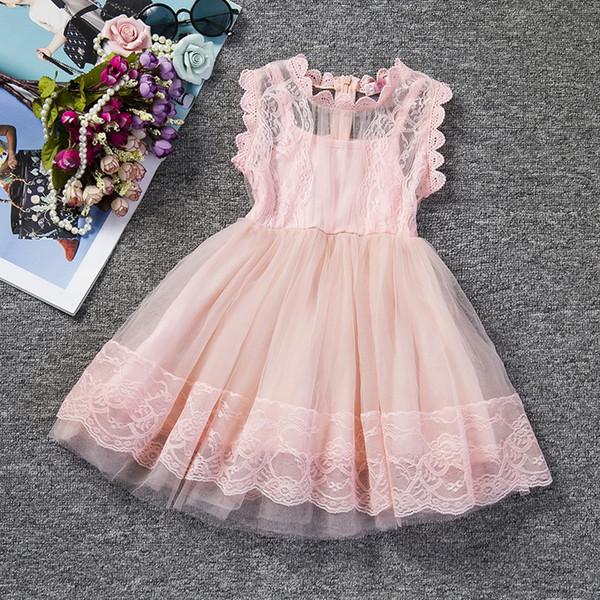 Pink Kids Baby Girls Party Dresses Lace Princess Dress for Baptism Wedding Children Clothing Girl Tulle Tutu Dress