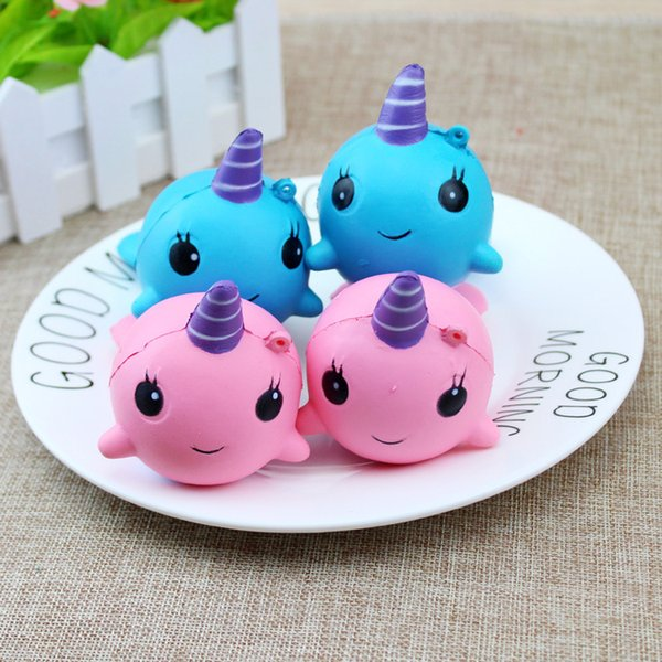 best selling Kawaii Squishy Pink Whale Cartoon Collectible Squeeze Elasticity Stretch Vent Whale Squishies Cake Kid Toy Gift