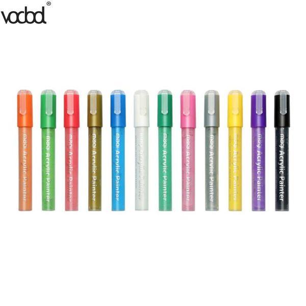 12pcs pennarelli a base di olio pennarelli colorati per scrapbook fai da te Graffiti arte pittura strumenti forniture per ufficio di cancelleria
