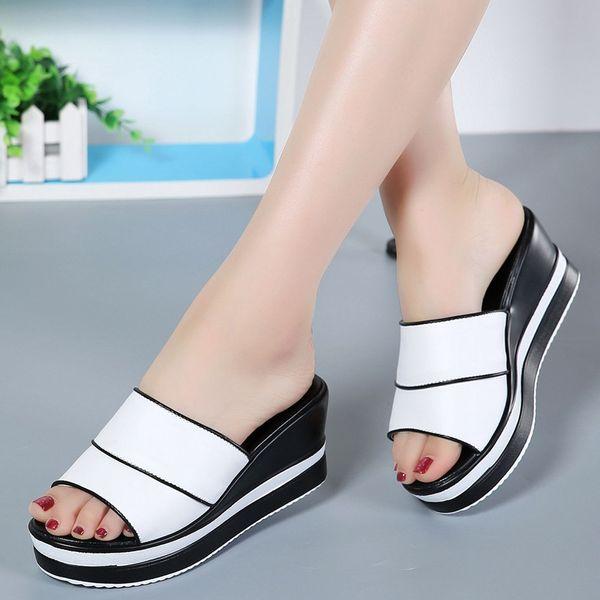 8f404e52e9 Heel Shoes Peep Toe Women's slippers Sexy Open Toe Shoes Wedge Non-slip  Women's High