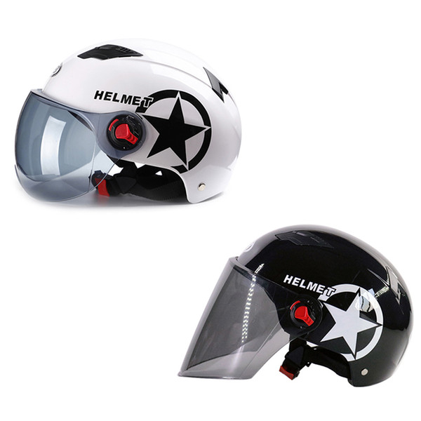 Motor Scooter Motorcycle Helmet Half Open Face Half Matted Black White Stars Helmet & Goggles Hot Selling