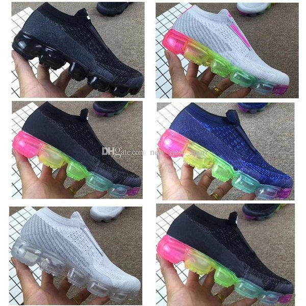 2018 New plus Children Casual Rainbow Infant Boys Girls kids chaussures Fashion designer Sneakers Laceless Running Shoes 28-35