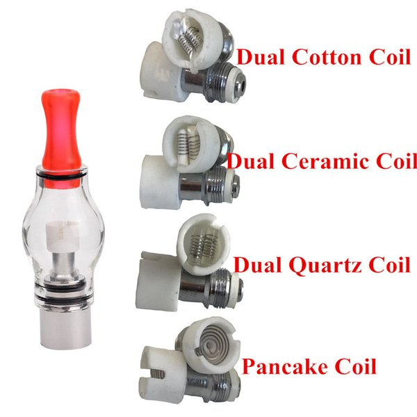 M6 atomizer Coil Quartz dual wax coil ceramic Ceramic Cotton Pancake rebuildable Glass globe atomizer core for dry herb vaporizer eciga