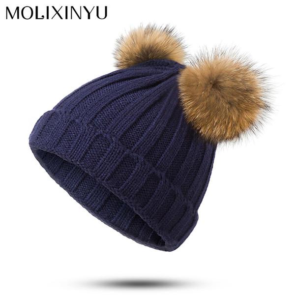 MOLIXINYU Bimba bimba Doppio cappello a sfera capelli carino moda solido  bambini spessi cappello invernale per 5c1cf76c30ec