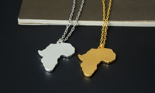 Trendy Men Gold Silver Africa Map Pendant Necklaces Fashion Jewelry for 18k Gold Plated 60cm Long Chain Micro Hip Hop Rock Mens