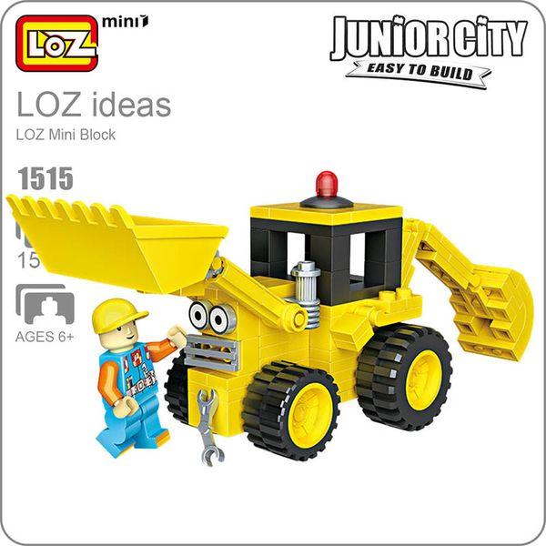 LOZ Blocks Diamond Engineer Mini Truck Micro Building Blocks Figures Cartoon Mini Plastic Assembly Toys Small Blocks Toy 1515