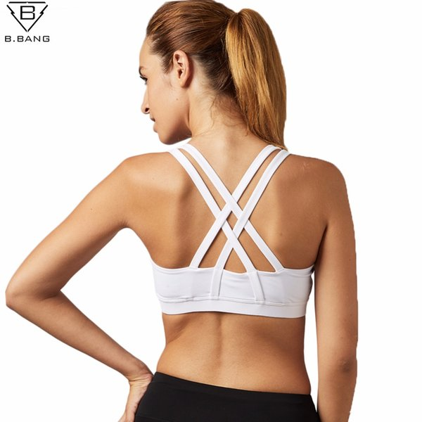 B.BANG soutien gorge for Running Fitness Padded Tops Athletic Vest Sports Bra Quick Dry Girl Female Yoga Top