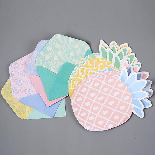 1 Set=4 Letters + 4 Envelopes+ 1 Sticker Sheet Fresh Pineapple Paper Letter Stationery Set Writing Greeting Birthday Message
