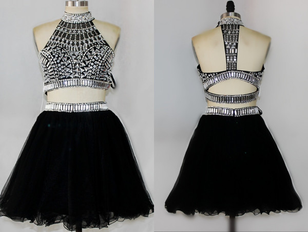 Rachel Allan Royal Blue Silver Two Piece Short Homecoming Dresses Halter Open Back Sparkly Crystal A-line Short Prom Dresses DH898