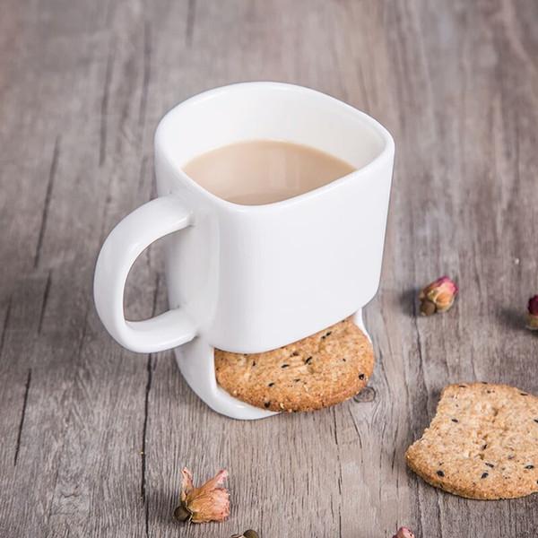 Caneca de cerâmica Xícaras De Café De Chá De Café Biscoitos Leite Sobremesa Xícara De Água Branca Xícara de Chá Lado Do Xícara de Biscoito Bolsos Titulares Presentes Criativos YFA243