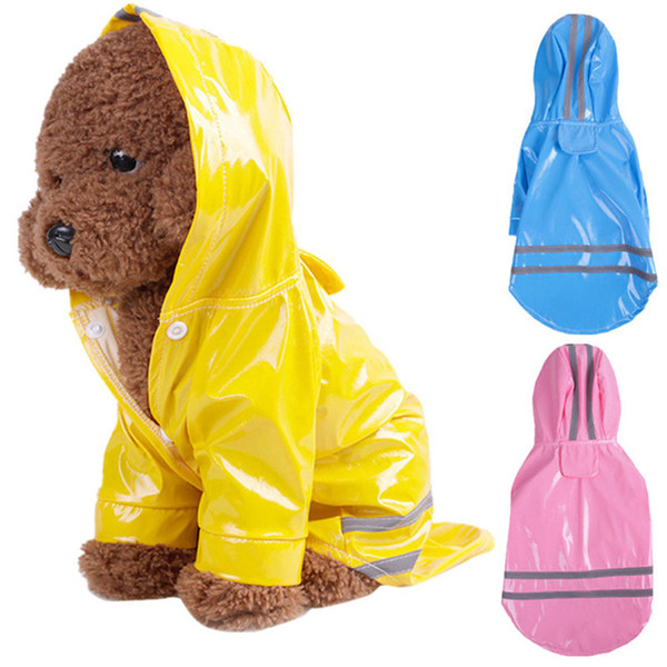 Puppy Pet dog Rain Coat S-XL 5 colors Hoody Waterproof Jackets PU Raincoat for Dogs Cats Apparel Clothes