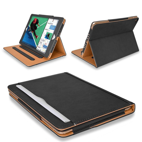 top popular Luxury Tan Soft Leather Wallet Stand Flip Case Smart Cover for New iPad 9.7 2017 2018 Air 2 3 4 5 6 7 Air2 Pro 10.5 Mini Air2 Mini4 2020