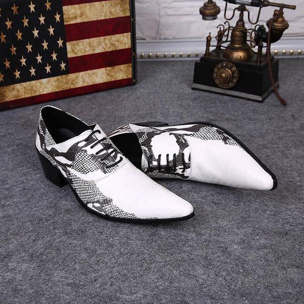 Man leather man's shoes British Style leisure stylist shoes White Black Man Wedding Shoes