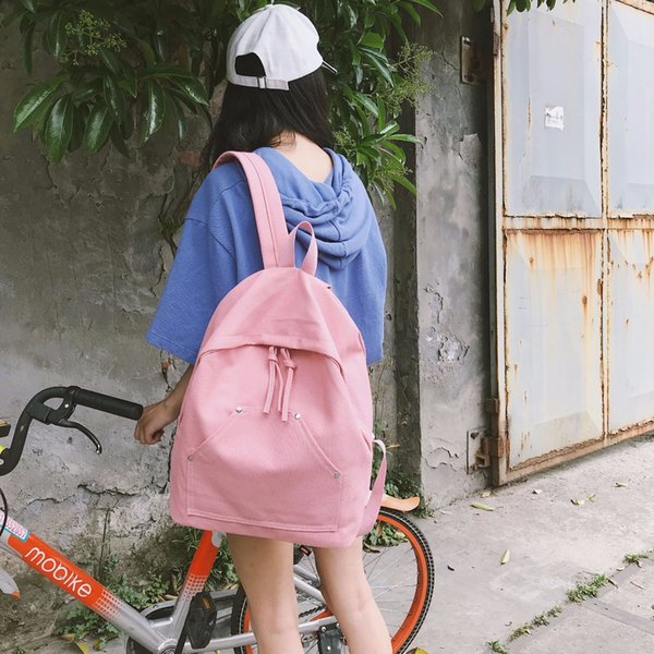 New PB01-15 linen contrast color backpack female trend shopping backpack Japan and South Korea student bag