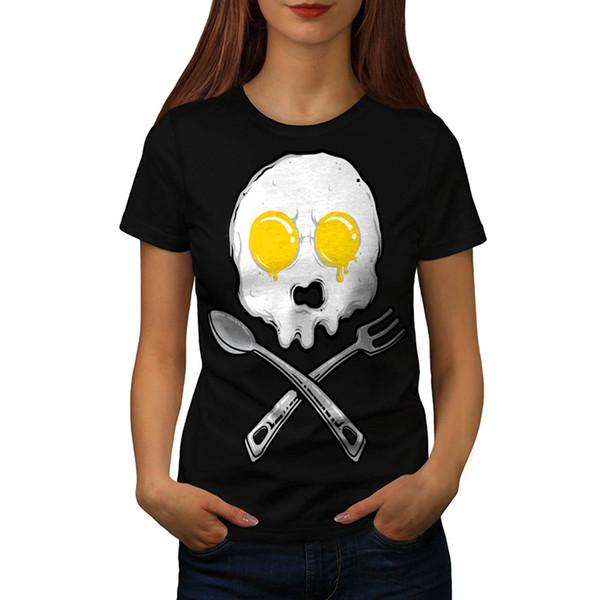 Kadın Tee Omlet İskelet Pişmiş Yumurta Kadın S-Xl Kız T Gömlek Sıcak Satış 2017 Kadın T-shirt Gri Stil Lady Özel Baskılı Kısa Kollu