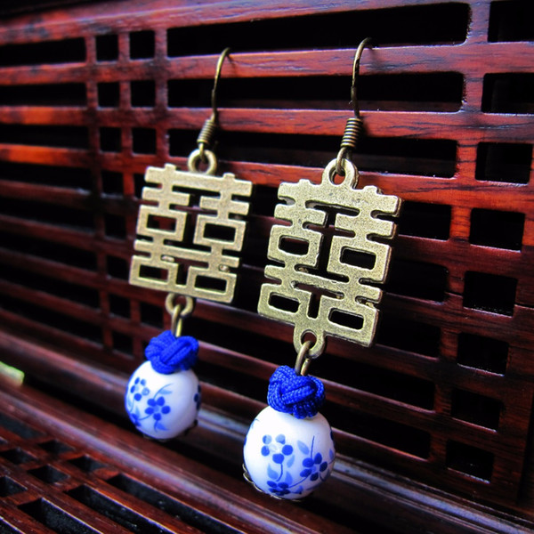Wholesale Chinese Style Earring Drop Vintage Rope Knot Porcelain Bead Pendant Dangle Earring Double Happiness Bride Jewelry 5pcs