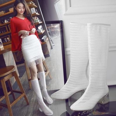2018 nuevas botas de verano para la calle vencieron a la malla hueca de espesor con botas largas hembra versión coreana de tubo alto transpirable salvaje
